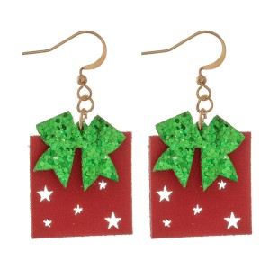 """Two Tone Glitter Christmas Present Drop Earrings Featuring Star Punch Out Details.  - Faux Leather  - Approximately 1.5"""" L"""