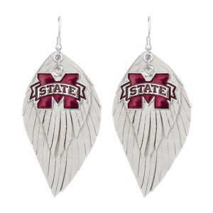 "Mississippi State Game Day Feather Drop Earrings.  - Approximately 2.5"" L"