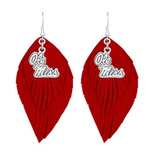 "Ole Miss Game Day Feather Drop Earrings.  - Approximately 2.5"" L"
