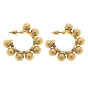"Ball Stud Hoop Earrings in Worn Gold.  - Hoop Diameter 1""  - Ball Bead Size 7mm"