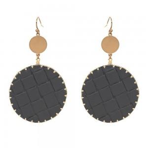 """Faux Leather Basket Weave Drop Earrings in Gold.  - Approximately 3.25"""" Long  - 1.5"""" in Diameter"""