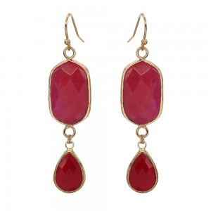 "Semi Precious Natural Stone Teardrop Earrings in Gold.  - Approximately 2"" Long"