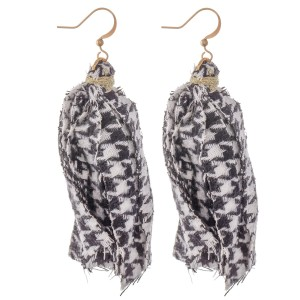 """Houndstooth Fabric Tassel Earrings.  - Approximately 3"""" L"""