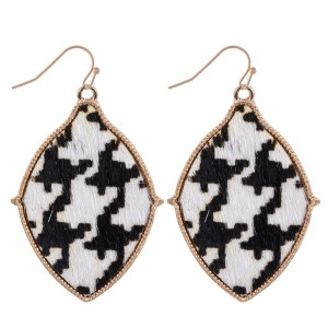 """Metal Encased Genuine Leather Houndstooth Drop Earrings in Gold.  - Approximately 2"""" Long"""