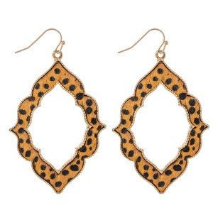 "Metal Encased Genuine Leather Cheetah Print Moroccan Drop Earrings in Gold.  - Approximately 2.5"" Long"