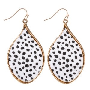 """Metal Encased Genuine Leather Cheetah Print Curved Teardrop Earrings in Gold.  - Approximately 2"""" Long"""
