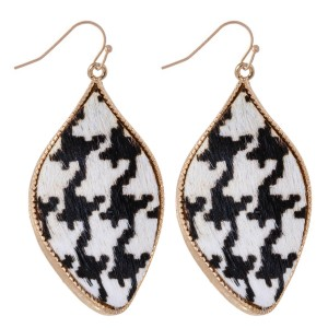 """Metal Encased Genuine Leather Houndstooth Curved Teardrop Earrings in Gold.  - Approximately 2"""" Long"""