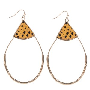 """Genuine Leather Cheetah Print Teardrop Statement Earrings in Gold.  - Approximately 3"""" Long"""