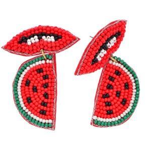 """Seed Beaded Watermelon Felt Drop Earrings.  - Approximately 2"""" in Length"""