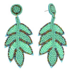 "Seed Beaded Sequin Leaf Felt Statement Drop Earrings.  - Approximately 3"" in Length"