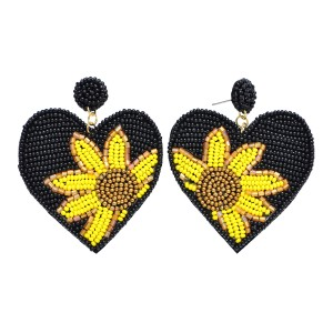 """Seed Beaded Sunflower Felt Heart Statement Drop Earrings.  - Approximately 2.5"""" L x 2"""" W"""