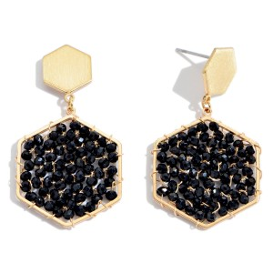 "Beaded Hexagon Drop Earrings in Gold.  - Approximately 1.5"" in Length"