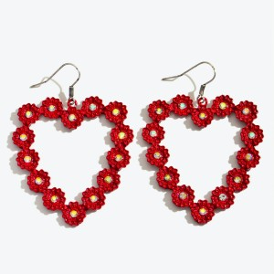 """Red Metal Flower Heart Statement Drop Earrings Featuring Rhinestone Accents.  - Approximately 2.25"""" in Length"""