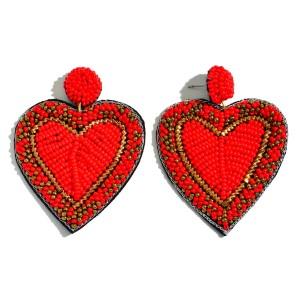 """Filled Seed Beaded Heart Felt Statement Drop Earrings.  - Approximately 2.25"""" L x 2"""" W"""