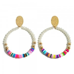 "Faceted Rubber Beaded Drop Earrings Featuring Gold Accent.  - Approximately 2"" L x 1.5"" W"