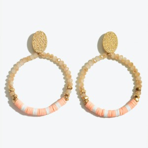 """Faceted Rubber Beaded Drop Earrings Featuring Gold Accent.  - Approximately 2"""" L x 1.5"""" W"""
