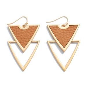 "Faux Leather Metal Geometric Drop Earrings.  - Approximately 2"" in Length"