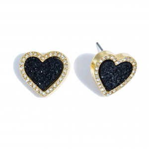 """Druzy Heart Stud Earrings in Gold Featuring Rhinestone Trim Detail.  - Approximately .75"""" in Size"""