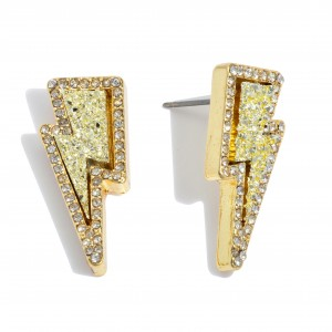"""Druzy Lightning Bolt Stud Earrings in Gold Featuring Rhinestone Trim Detail.  - Approximately 1"""" in Length"""