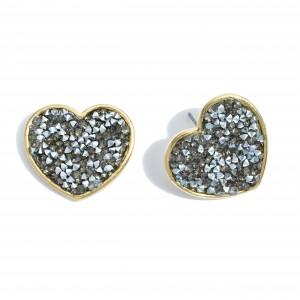 """Rhinestone Glitter Heart Stud Earrings in Gold.  - Approximately 1"""" in Size"""
