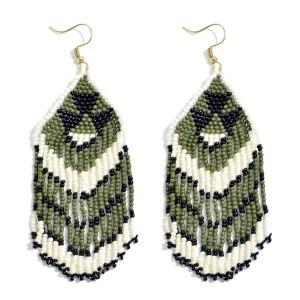 "Seed Beaded Tribal Tassel Statement Earrings.  - Approximately 3.5"" in Length"
