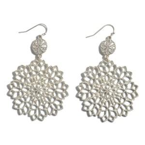 "Metal Flower Filigree Drop Earrings.  - Approximately 2.5"" in Length"