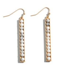 """Semi Precious Beaded Bar Earrings.  - Approximately 2.25"""" in Length"""