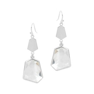 """Metal Drop Earrings Featuring Clear Crystal Accents.   - Approximately 2"""" Long"""