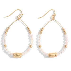 """Beaded Tear Drop Earrings Featuring Hammered Gold Accents.   - Approximately 2"""" in Length"""