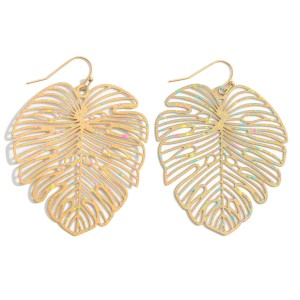 """Filigree Tropical Leaf Earrings Featuring Paint Splatter Details.   - Approximately 3"""" in Length"""