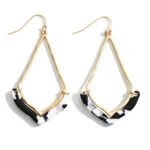 """Gold Teardrop Earrings Featuring Resin Accents.   - Approximately 2.5"""" in Length"""