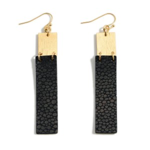 """Metal Drop Earrings Featuring Faux Leather Details.   - Approximately 3"""" Long"""