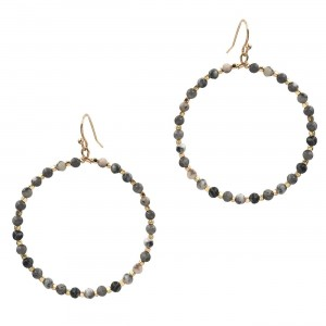 """Natural Stone Inspired Circular Beaded Drop Earrings Featuring Gold Details.  - Approximately 2"""" in Length Overall - Approximately 1.75"""" in Diameter"""