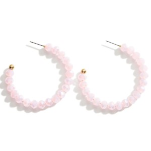 "Beaded Hoop Earrings.   - Approximately 1.75"" Long"