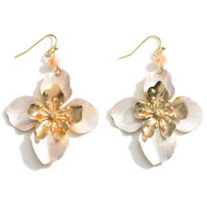 """Floral Drop Earrings Featuring Gold Accents.   - Approximately 2.5"""" Long"""