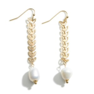 """Leaf Shaped Drop Earrings Featuring Faux Pearl Accents.   - Approximately 2.25"""" Long"""