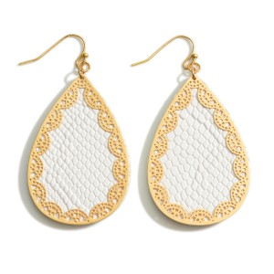 """Faux-Leather Teardrop Earrings Featuring Gold Accents.   - Approximately 2.5"""" Long"""