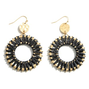 """Metal Drop Earrings Featuring Woven Accents.   - Approximately 2.75"""" Long"""
