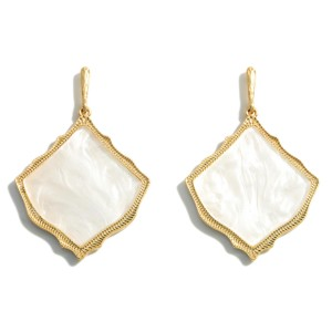 """Gold Drop Earrings Featuring a Moroccan Glass Stone Teardrop Pendant.  - Approximately 2.5"""" in Length"""