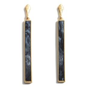 "Moroccan Glass Stone Drop Earrings.   - Approximately 3"" Long"