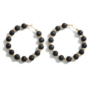 """Beaded Hoop Earrings.   - Approximately 2"""" in Diameter"""