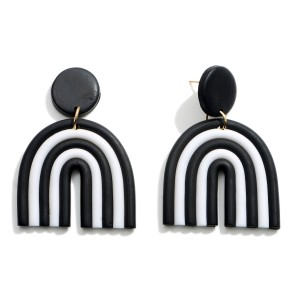 """Black and White Polymer Clay Drop Rainbow Earrings.  - Approximately 2"""" in Length"""