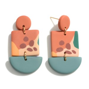 """Multicolor Polymer Clay Drop Earrings.  - Approximately 1.75"""" in Length"""
