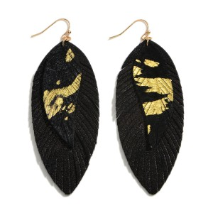 "Faux Leather Drop Earrings.   - Approximately 3.5"" Long"