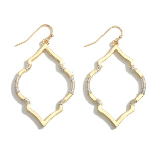 """Metal Earrings Featuring Two-Tone Accents.   - Approximately 2.25"""" Long"""