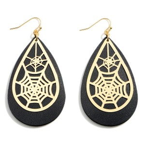 """Halloween Leather Teardrop Earrings Featuring Spider Web Details.  - Approximately 3.25"""" in Length"""