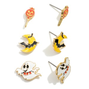 """Set of Three Halloween Themed Stud Earrings.   - Studs Approximately .5"""" in Diameter"""