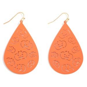 """Halloween Metal Teardrop Earrings Featuring Jack-O-Lantern Details.  - Approximately 2.5"""" in Length"""
