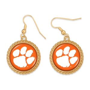 """Clemson Gold Drop Earrings.  - Charm Approximately 1"""" in Diameter - Approximately 2"""" in Length"""