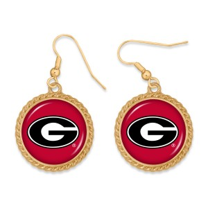 """Georgia Gold Drop Earrings.  - Charm Approximately 1"""" in Diameter - Approximately 2"""" in Length"""